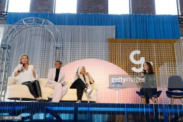 Allana Harkin Nafessa Williams Amani AlKhatahtbeh and Rachel Sklar speak on a panel at Girlboss Rally NYC 2018 at Knockdown Center on November 17...