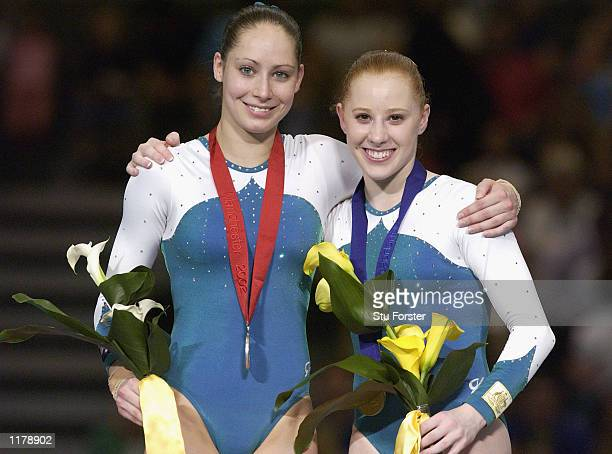Allana Slater of Australia and Alexandra Croakthe of Australia delebrates winning goald and silver in the Gymnastic Women's Vault Final at the...