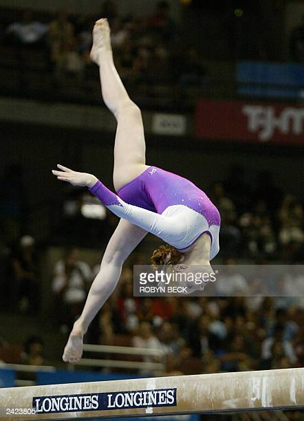 Allana Slater of Australia performs on the balance beam during competition at the women's team final at the World Championships Artistic Gymnastics...