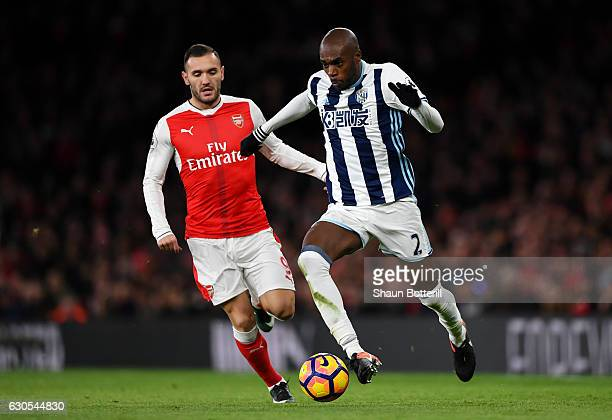 AllanRomeo Nyom of West Bromwich Albion battles for the ball with Lucas of Arsenal during the Premier League match between Arsenal and West Bromwich...