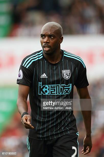 AllanRomeo Nyom of West Bromwich Albion during the Premier League match between Stoke City and West Bromwich Albion at Bet365 Stadium on September 24...