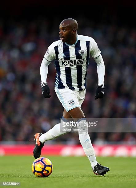 AllanRomeo Nyom of West Bromwich Albion runs with the ball during the Premier League match between Arsenal and West Bromwich Albion at Emirates...