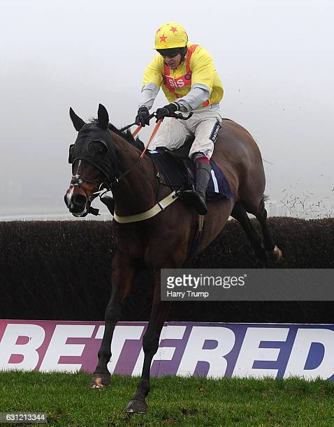Allchilledout ridden by Aidan Coleman jumps the last to win the Bathwick Tyres Chase at Chepstow Racecourse on January 8 2017 in Chepstow Wales