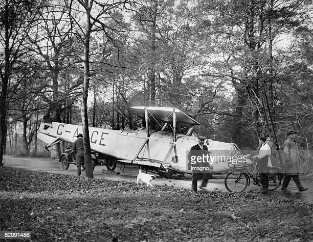 Alleged aircraft crash This airplane did not crash It simply fell from the loading area of a truck during the transport Photograph 1931...