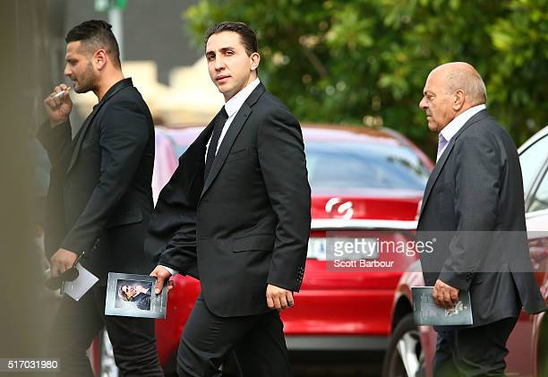 Alleged gangland boss Rocco Arico leaves the funeral service for Joseph 'Pino' Acquaro at St Mary's Star of Sea Catholic Church on March 23 2016 in...
