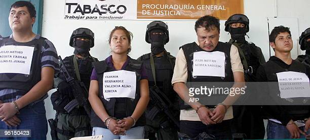 Alleged members of the Zetas drug cartel are shown to the press in Villahermosa, Mexico, on December 23, 2009. The suspects were detained in the...