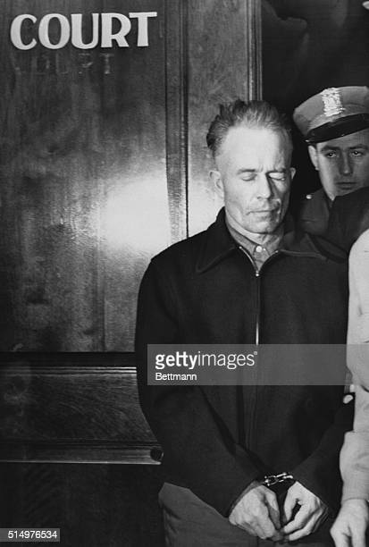 Alleged murderer Ed Gein leaves the Waushara County court here, after learning that he will be sent to a state mental hospital at Waupum. He will...