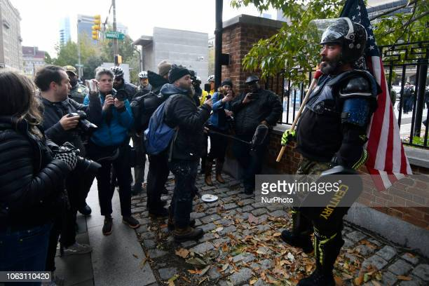 Alleged Proud Boy Alan Swinney of Texas is seen at a patriotic We The People rally at Independence Mall in Philadelphia PA on November 17 2018 The...