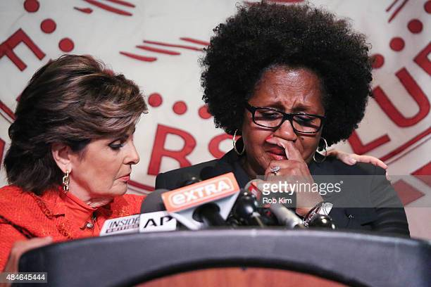 Alleged victim Charlotte Fox is consoled by Gloria Allred during a press conference with new alleged victims in the Bill Cosby Scandal at The Friars...