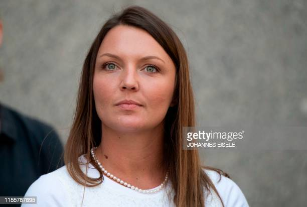 Alleged victim Courtney Wild leaves the courthouse after a bail hearing in US financier Jeffrey Epstein's sex trafficking case on July 15 2019 in New...