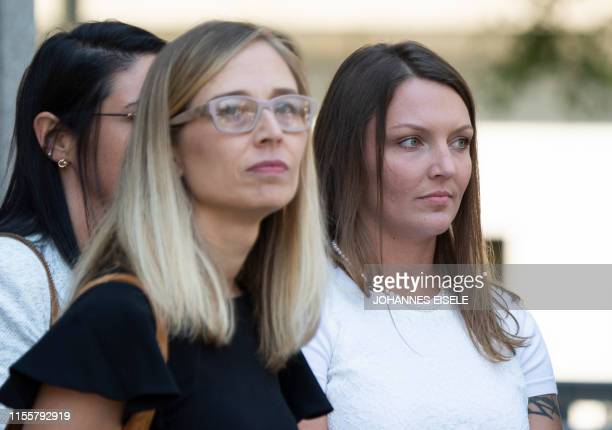 Alleged victims Annie Farmer and Courtney Wild leave the courthouse after of a bail hearing in US financier Jeffrey Epstein's sex trafficking case on...