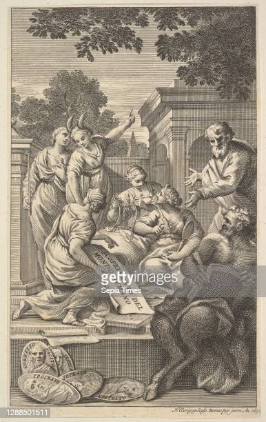 Allegorical composition celebrating the Humanities Etching, sheet: 10 9/16 x 6 5/8 in. , Prints, Sir Nicolas Dorigny , After Carlo Maratti .