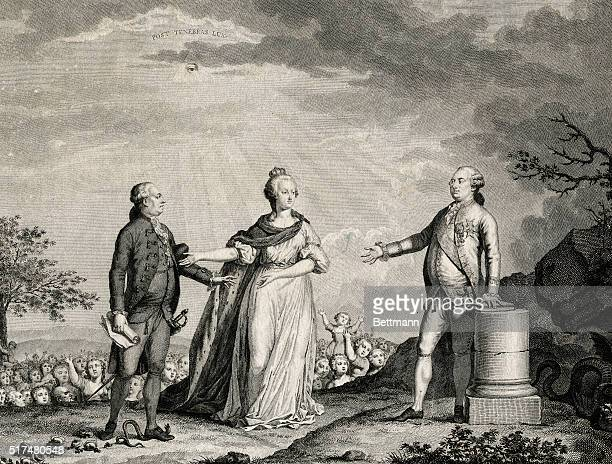 Allegorical engraving of Louis XVI with Marie Antoinette and Jacques Necker, basking in the glow of a radiant eye as the people look on. Undated...