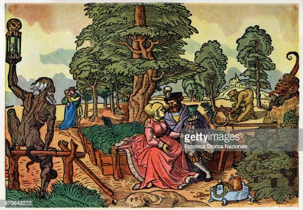Allegorical illustration on the dangers of love Lady and knight entertain pleasantly in the garden of love syphilis and death symbolized by monsters...