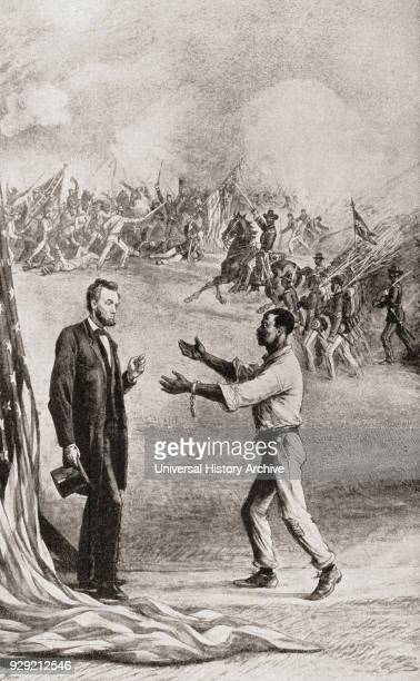 Allegorical image of a southern Negro slave his chains broken greeting President Abraham Lincoln during the American Civil War Behind them a battle...