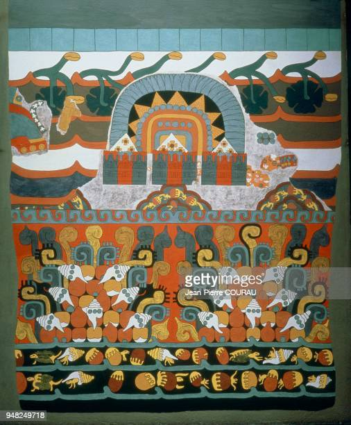 Allegorical painting inspired by the site and civilization of Teotihuacan and decorating a wall at the National Museum of Anthropology in Mexico City...