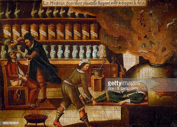 Allegorical pharmacy sign from the old Cosseret pharmacy in Autun oil on canvas France 17th century