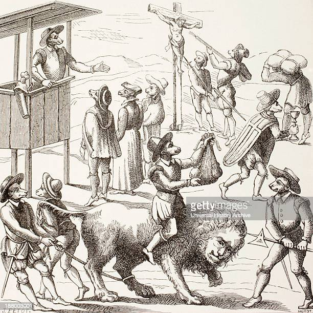Allegorical Picture Of Excesses Said To Have Been Committed By The Huguenots The Tame Lion Represents A France Reduced By The Heretics And Their...