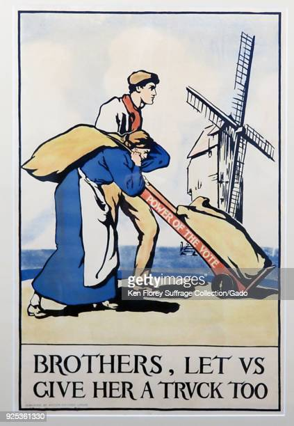 Allegorical suffrage poster, depicting a man pushing a heavy sack on a dolly or hand truck, with a woman next to him, carrying a sack on her back,...