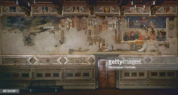 Allegory of a Wrong Leading by Ambrogio Lorenzetti 1338 1339 14th Century fresco Italy Tuscany Siena Pubblic Palace Civic Museum in Siena Whole...