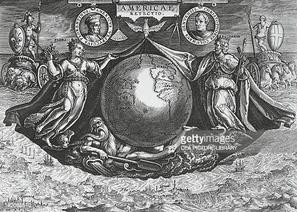 Allegory of America with medallions containing the portraits of Christopher Columbus and Amerigo Vespucci title page engraving by Joannes Sredan and...