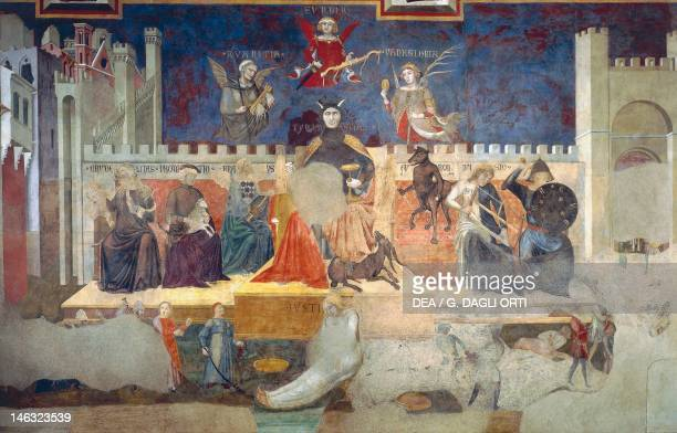 Allegory of bad government detail from Allegories of Good and Bad Government and their effects on town and countryside 13381339 by Ambrogio...