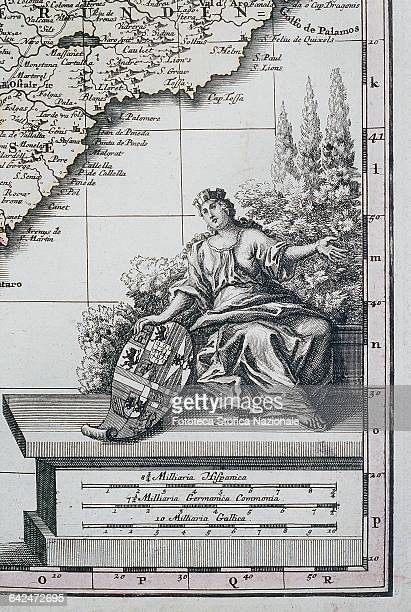 Allegory of Catalonia female figure holding a multiple coat of arms Detail from a map of Matthaei Seutteri Germany XVIII century
