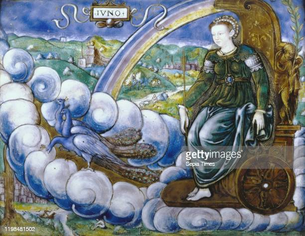 Allegory of Catherine de' Medici as Juno. LŽonard Limosin . Limoges. France. 1573. Polychrome enamel with painted gold highlights on copper and...