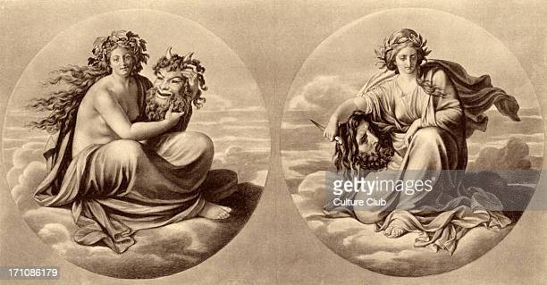 Allegory of Comedy and Tragedy , with comic and tragic masks. Drama. Grape wreath for Comedy with satyr head and laurel wreath for Tragedy, holding a...