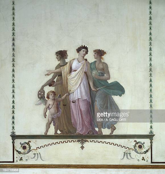 Allegory of comedy justice and truth Pompeianstyle fresco by Giuseppe Borsato Fine Arts Room Royal Palace Venice Italy 17th19th century