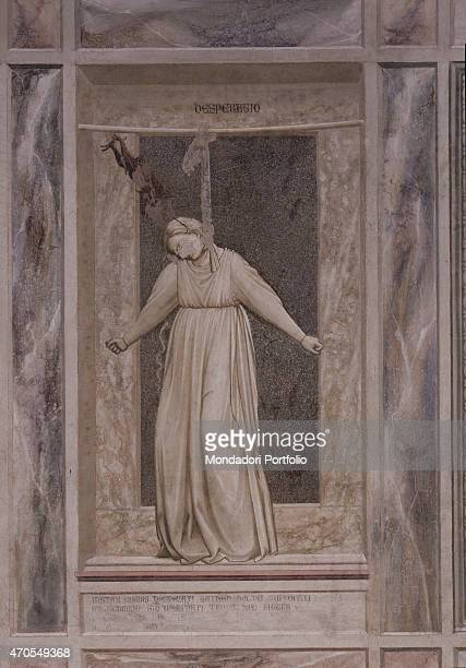 'Allegory of Desperation by Giotto 13031305 14th Century fresco Italy Veneto Padua Scrovegni Chapel After restoration picture Whole artwork view A...