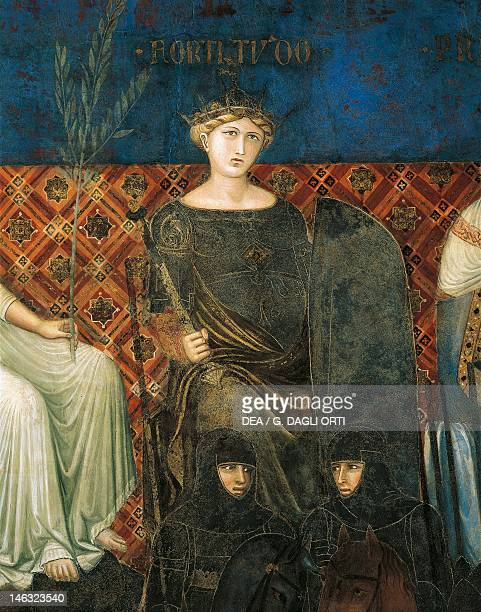 Allegory of force detail from the Allegory and effects of good and bad government in town and country 13371343 by Ambrogio Lorenzetti fresco Hall of...