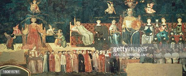 Allegory of Good Government detail from Allegory and effects of good and bad government in town and country 13371343 by Ambrogio Lorenzetti fresco...