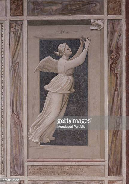 'Allegory of Hope by Giotto 13031305 14th Century fresco Italy Veneto Padua Scrovegni Chapel After restoration picture Whole artwork view A Virtue is...