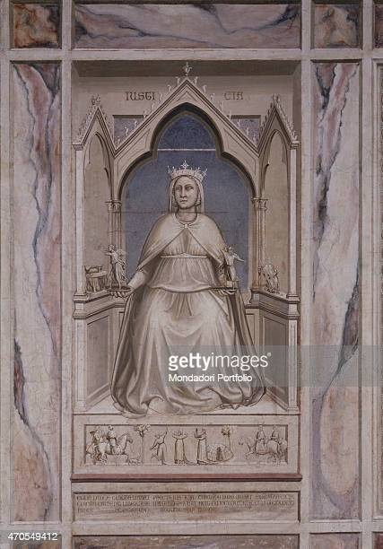 'Allegory of Justice by Giotto 13031305 14th Century fresco Italy Veneto Padua Scrovegni Chapel After restoration picture Whole artwork view A Virtue...
