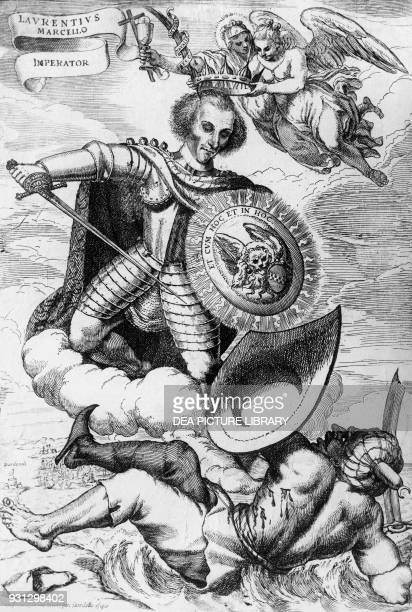 Allegory of Lorenzo Marcello head of the Venetian army who defeated the Turks at the Battle of the Dardanelles in 1656 engraving Italy 17th century