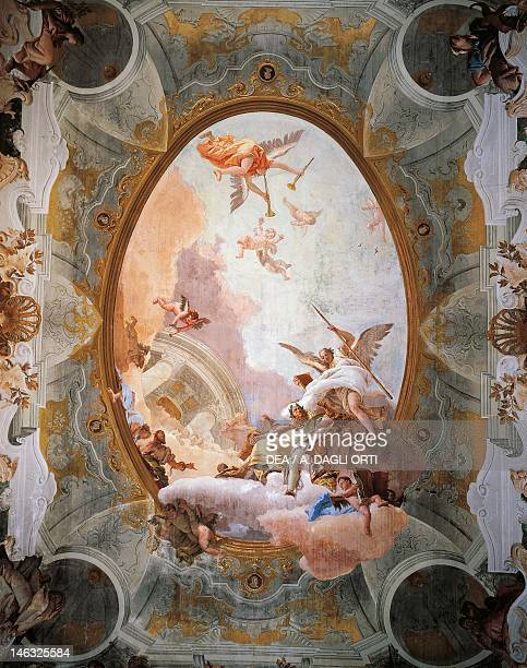 Allegory of Merit Accompanied by Nobility and Virtue by Giambattista Tiepolo Ceiling of the Throne Room Ca 'Rezzonico Palazzo Venice