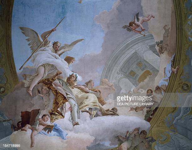 Allegory of Merit accompanied by Nobility and Virtue fresco by Giovanni Battista Tiepolo in the Throne Room Ca' Rezzonico Venice Italy 18th century
