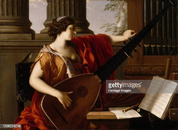 Allegory of Music, 1649. Allegorical figure tunes a theorbo. At her shoulder is a songbird, symbol of natural music, whereas by contrast she may be a...