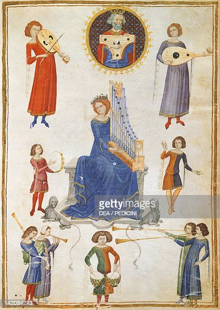 Allegory of music illuminated page from The Music Institute by Severin Boezio Italy manuscript V A folio 27 Italy 14th Century Naples Biblioteca...
