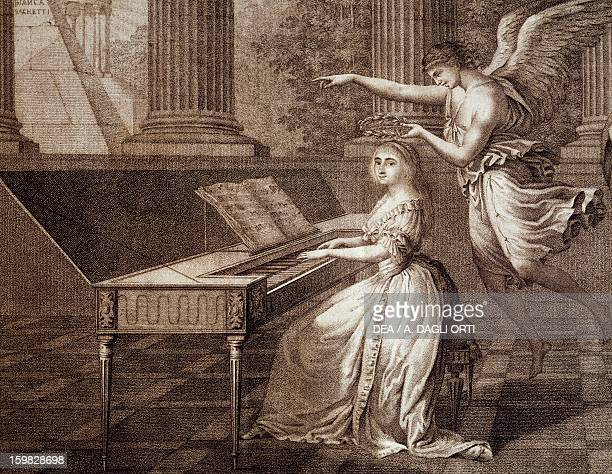 Allegory of Music musical genius crowning a woman playing the piano engraving Italy 18th century Venice Museo Correr