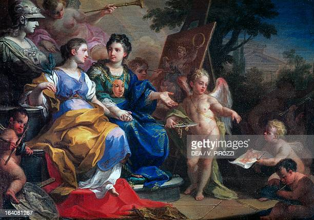Allegory of Painting and Sculpture by Sebastiano Conca painting Rome Galleria Spada