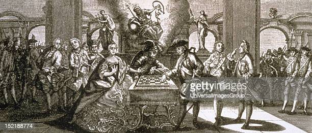 Allegory of the beginning of the Seven Years War 17561763 Maria Theresa and Frederick II playing chess with Mars god of war in the center Copperplate...