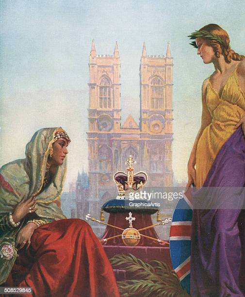 Allegory of the Coronation of George VI and Queen Elizabeth with the Crown Jewels and Westminster Abbey 1937 Screen print