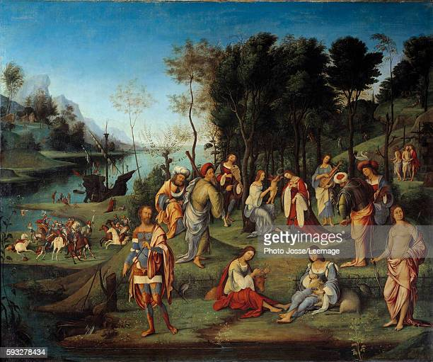 Allegory of the Court of Isabelle d'Este or Isabella d'Este in the Kingdom of Love. Painting by Lorenzo Costa 16th century. 1,64 x1,97 m . Louvre...