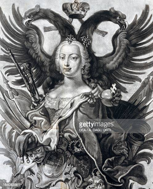 Allegory of the empire of Maria Theresa , Empress consort of Francis I , emperor of the Holy Roman Empire, engraving, 18th century.