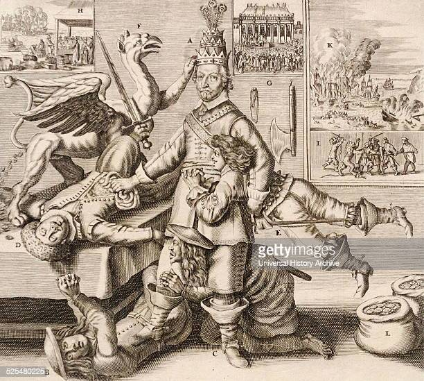 Allegory on Oliver Cromwell victor in the English Civil War Engraved by Crispijn de Passe II Engraver Dated 17th Century