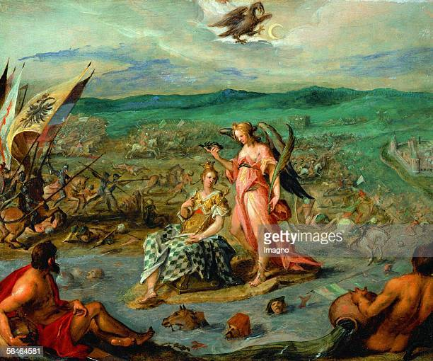 Allegory on the Turkish War in which imperial troops forced the Turks to retreat from Transsylvania The battle of Sissak Oil on canvas [Sinnbild des...