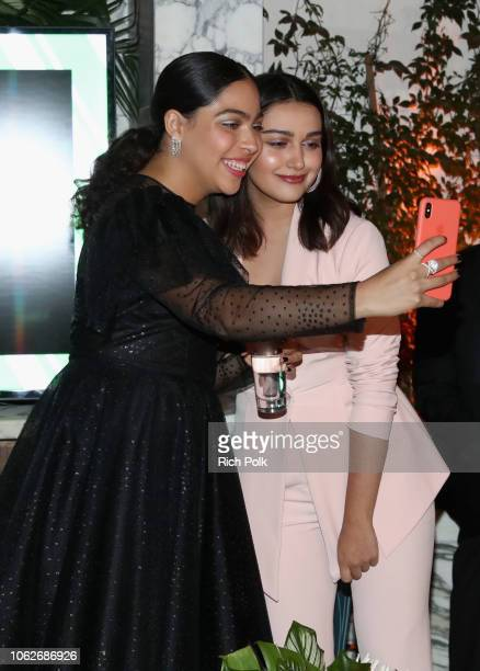 Allegra Acosta and Ariela Barer attend the 2018 Hulu Holiday Party at Cecconi's Restaurant on November 16 2018 in Los Angeles California