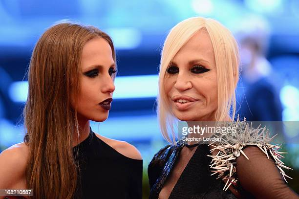 Allegra Beck and Donatella Versace attends the Costume Institute Gala for the PUNK Chaos to Couture exhibition at the Metropolitan Museum of Art on...